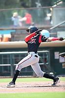 Jalen Washington (2) of the Lake Elsinore Storm bats against the Inland Empire 66ers at San Manuel Stadium on June 5, 2019 in San Bernardino, California. (Larry Goren/Four Seam Images)