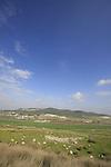 Israel, Shephelah. Sorek valley and Tel Tzora as seen from Tel Beth Shemesh