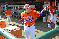 Head coach Jack Leggett (7) of the Clemson Tigers gestures before a game against the University of Alabama-Birmingham on Feb. 17, 2012, at Doug Kingsmore Stadium in Clemson, South Carolina. UAB won 2-1. (Tom Priddy/Four Seam Images)