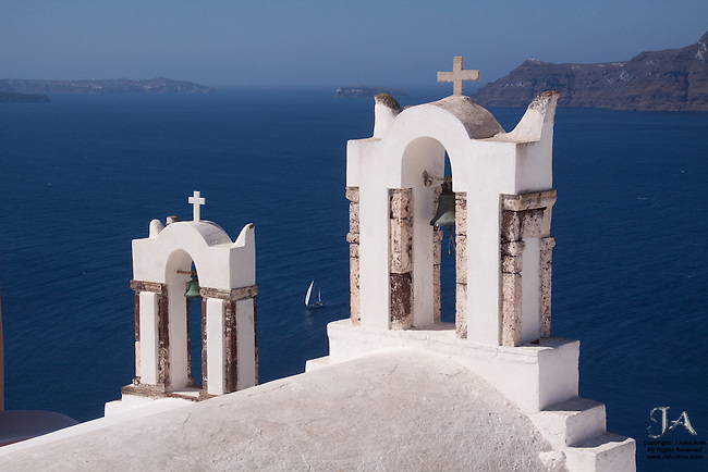 Church Bell Towers in Oia overlooking the Aegean
