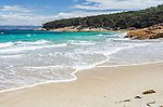 Hazards Beach, accessible by foot or boat, is on the southern side of the isthmus track from Wineglass Bay in Freycinet National Park, Coles Bay, Tasmania, Australia