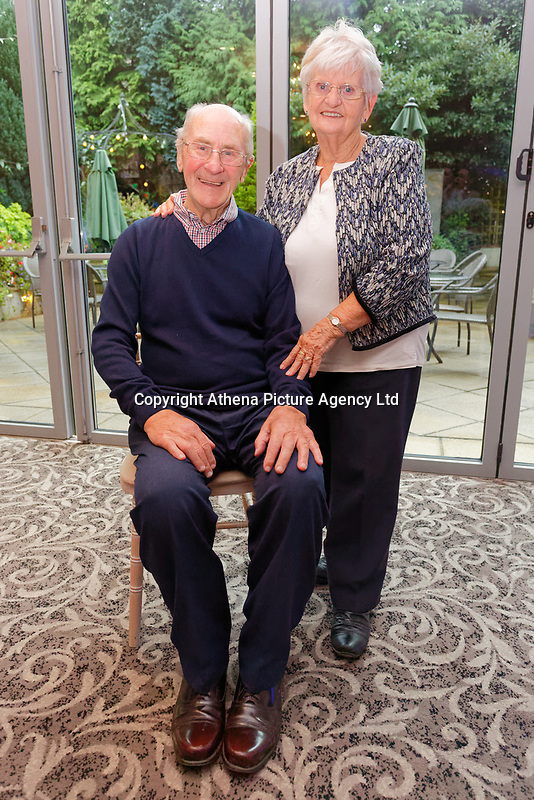 Pictured L-R: Graham Page, 82 with wife Bronny from Barry.  Wednesday 28 November 2018<br /> Re: National Lottery millionaires from south Wales and the south west of England have hosted a glitzy Rat Pack-inspired Christmas party for an older people's music group at The Bear Hotel in Cowbridge, Wales, UK.