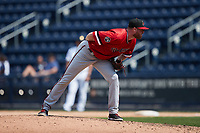 Rochester Red Wings relief pitcher Aaron Barrett (22) looks to his catcher for the sign against the Scranton/Wilkes-Barre RailRiders at PNC Field on July 25, 2021 in Moosic, Pennsylvania. (Brian Westerholt/Four Seam Images)