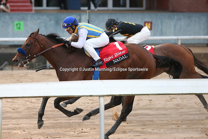 March 14, 2020: Nadal (1) with jockey Joel Rosario aboard fighting off Excession (2) with jockey Tyler Baze aboard before crossing the finish line in the Rebel Stakes at Oaklawn Racing Casino Resort in Hot Springs, Arkansas on March 14, 2020. Justin Manning/Eclipse Sportswire/CSM