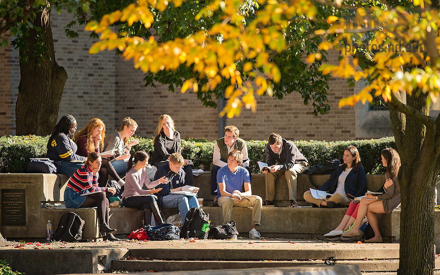November 7, 2016; Class outside of O'Shaughnessy Hall (Photo by Matt Cashore/University of Notre Dame)