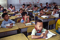 Young boys outnumber girls in a village school in Guangdong Province, South China. An average gender inbalance 118 males to 100 females caused by the strict One Child Policy and the preference for boys means that there is a shortage of women in China.
