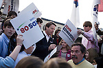 January 24, 2008. Spartanburg, SC.. Presidential candidate and former US senator, John Edwards campaigned across the western part of South Carolina today in an effort to shore up support before Saturday's primary election.. Edwards signed autographs for students from the 7th grade class at Spartanburg Day School at the Beacon Drive In in Spartanburg.