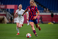 SAITAMA, JAPAN - JULY 24: Lindsey Horan #9 of the United States on the ball during a game between New Zealand and USWNT at Saitama Stadium on July 24, 2021 in Saitama, Japan.