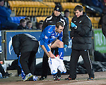 St Johnstone v St Mirren.....11.01.14   SPFL<br /> Dave Mackay gets changed after a bloody nose<br /> Picture by Graeme Hart.<br /> Copyright Perthshire Picture Agency<br /> Tel: 01738 623350  Mobile: 07990 594431
