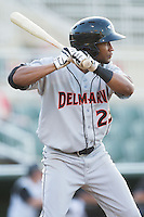 Gregory Lorenzo (25) of the Delmarva Shorebirds at bat against the Kannapolis Intimidators at CMC-NorthEast Stadium on July 1, 2014 in Kannapolis, North Carolina.  The Intimidators defeated the Shorebirds 5-2. (Brian Westerholt/Four Seam Images)