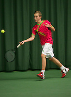Rotterdam, The Netherlands, 15.03.2014. NOJK 14 and 18 years ,National Indoor Juniors Championships of 2014, Just van der Kroft (NED)<br /> Photo:Tennisimages/Henk Koster