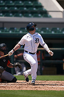 Detroit Tigers Daniel Cabrera (17) bats during a Minor League Spring Training game against the Baltimore Orioles on April 14, 2021 at Joker Marchant Stadium in Lakeland, Florida.  (Mike Janes/Four Seam Images)