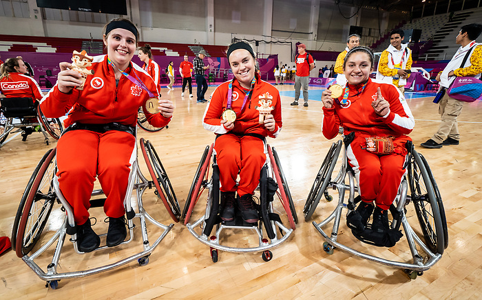 Sandrine Berube, Elodie Tessier, and Rosalie Lalonde, Lima 2019 - Wheelchair Basketball // Basketball en fauteuil roulant.<br /> Canada takes the gold medal in women's wheelchair basketball // Le Canada remporte la médaille d'or en basketball en fauteuil roulant féminin. 30/08/2019.