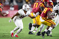 LOS ANGELES, CA - SEPTEMBER 11: Gabe Reid during a game between University of Southern California and Stanford Football at Los Angeles Memorial Coliseum on September 11, 2021 in Los Angeles, California.