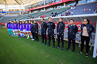CARSON, CA - FEBRUARY 07: Amelia Valverde headcoach of Costa Rica and bench during a game between Canada and Costa Rica at Dignity Health Sports Park on February 07, 2020 in Carson, California.