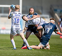 17th April 2021; AJ Bell Stadium, Salford, Lancashire, England; English Premiership Rugby, Sale Sharks versus Gloucester; Jonny May of Gloucester gets a dramatic pass away to George Barton of Gloucester under pressure from  Dan du Preez and  Akker Van Der Merwe of Sale Sharks