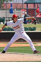 Steve Smith #37 of the Kinston Indians pitching during a game against the Lynchburg Hillcats at Granger Stadium on April 28, 2010 in Kinston, NC. Photo by Robert Gurganus/Four Seam Images.