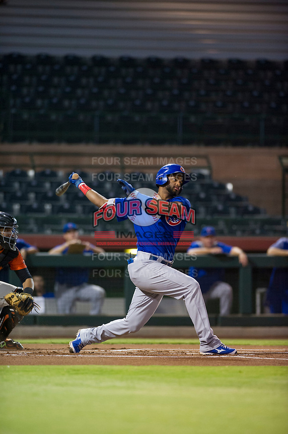 AZL Cubs right fielder Jonathan Sierra (22) follows through on his swing against the AZL Giants on September 5, 2017 at Scottsdale Stadium in Scottsdale, Arizona. AZL Cubs defeated the AZL Giants 10-4 to take a 1-0 lead in the Arizona League Championship Series. (Zachary Lucy/Four Seam Images)