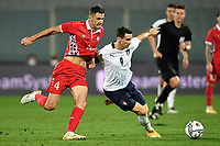 Igor Armaw of Moldova and Kevin Lasagna of Italy compete for the ball during the friendly football match between Italy and Moldova at Artemio Franchi Stadium in Firenze (Italy), October, 7th 2020. Photo Andrea Staccioli/ Insidefoto