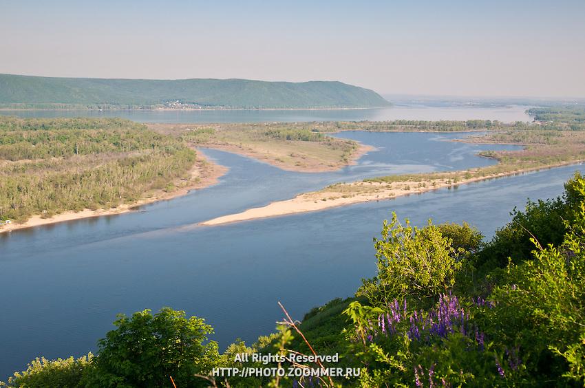 Panorama of the Volga river, Zhiguli mountains and Zelenenky island