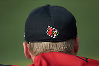 A rear view of a Louisville Cardinals baseball cap during the game against the Wake Forest Demon Deacons at David F. Couch Ballpark on March 17, 2018 in  Winston-Salem, North Carolina.  The Cardinals defeated the Demon Deacons 11-6.  (Brian Westerholt/Four Seam Images)