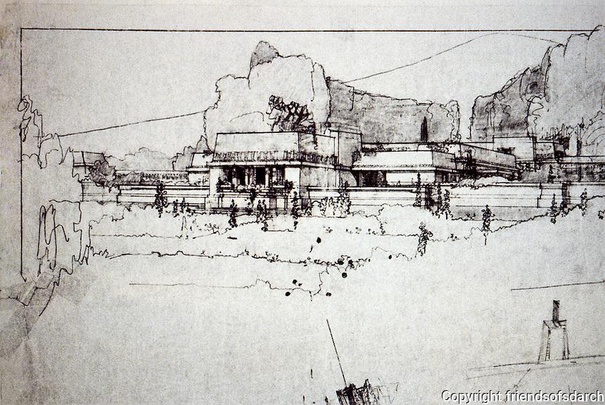 Frank Lloyd Wright:  Sketch of Hollyhock House, Hollywood.  Photo Dec. 1987.
