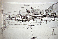 Frank Lloyd Wright:  Sketch of Hollyhock House, Hollywood.  Photo Dec. 1987.