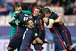 Atletico de Madrid's Jan Oblak, Stefan Savic, Koke Resurrecccion, Antoine Griezmann, Saul Niguez and Gabi Fernandez celebrate the victory in the Champions League 2015/2016 Quarter-Finals. April 13,2016. (ALTERPHOTOS/Acero)