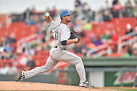 Asheville Tourists pitcher Dylan Craig (18) delivers a pitch during a game against the  Greenville Drive at Fluor Field on April 10, 2016 in Greenville South Carolina. The Drive defeated the Tourists 7-4. (Tony Farlow/Four Seam Images)