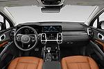 Stock photo of straight dashboard view of 2021 KIA Sorento SX 5 Door SUV Dashboard