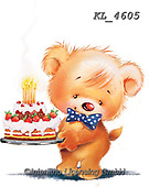Interlitho-Fabrizio, Comics, CUTE ANIMALS, LUSTIGE TIERE, ANIMALITOS DIVERTIDOS, paintings+++++,2 bear,party,cake,KL4605,#ac#, EVERYDAY ,sticker,stickers