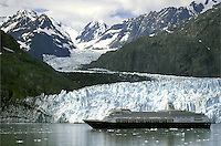 Holland America Cruise Line.  Volendam in front of Margerie Glacier.  Glacier Bay National Park. Alaska.