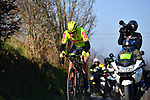 Tom Paquot (BEL) Bingoal Wallonie Bruxelles from the breakaway on Oude Kwaremtont during the 73rd edition of Kuurne-Brussel-Kuurne 2021 running 197km from Kuurne to Kuurne, Belgium. 28th February 2021  <br /> Picture: Serge Waldbillig | Cyclefile<br /> <br /> All photos usage must carry mandatory copyright credit (© Cyclefile | Serge Waldbillig)