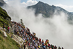 The peloton climbs the Col du Tourmalet during Stage 14 of the 2019 Tour de France running 117.5km from Tarbes to Tourmalet Bareges, France. 20th July 2019.<br /> Picture: ASO/Alex Broadway | Cyclefile<br /> All photos usage must carry mandatory copyright credit (© Cyclefile | ASO/Alex Broadway)