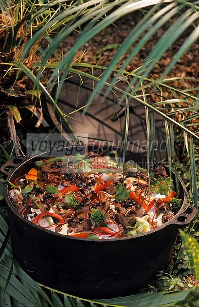 """Océanie/Australie/Queensland/Cairns: Kangourou sauté sauce haricots noirs et nouilles chinoises - Recette de C. Squire du """"Red Ochre Grill"""""""