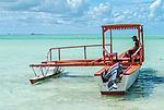 A traditional boat on the lagoon in Kiritimati in Kiribati