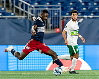 FOXBOROUGH, MA - AUGUST 26: Mayele Malango #10 of New England Revolution II passes the ball during a game between Greenville Triumph SC and New England Revolution II at Gillette Stadium on August 26, 2020 in Foxborough, Massachusetts.