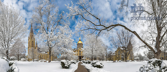 Mar. 12, 2014; Main Quad after a snowfall.<br /> <br /> Photo by Matt Cashore/University of Notre Dame