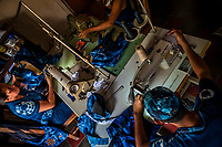 Salvadoran seamstresses sew indigo-dyed tote bags on the sewing machines in an artisanal clothing workshop in Santiago Nonualco, El Salvador, 6 April 2018. For centuries, indigo, a natural deep blue dye extracted from the leaves of tropical plants, has been known to the native indigenous inhabitants of Central America. Nowadays, a growing demand for handmade, nature-based products has has permitted the emergence of various clothing workshops and cooperatives. Employing traditional design techniques and inspired by the ancient Mayan artists, they produce fashion collections, clothing accessories or decorative items on a sustainable, small scale basis.