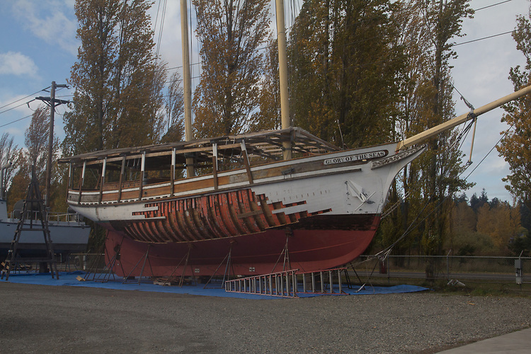 Schooner, Glory of the Seas, Port Townsend Boat Haven Marina, boat repair, classic wooden boats, schooners, derelict boats, Olympic Peninsula, Washington State, USA,