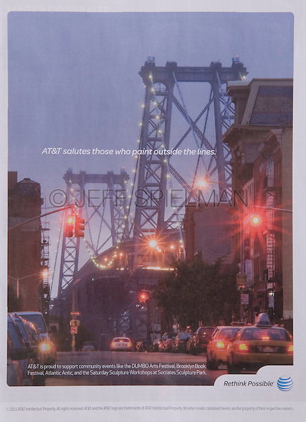 Print Advertisement highlighting AT&T's support of community arts events in New York City, as seen in Time Out New York magazine, August 2011<br /> <br /> Photo of the Williamsburg Bridge at Dusk Viewed from Williamsburg, Brooklyn available for commercial and editorial licensing from Corbis.<br /> <br /> Please go to www.corbis.com and search for photo # 42-19897737.