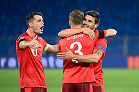 6th August 2020, Basel, Switzerland. UEFA National League football, Switzerland versus Germany;   Granit Xhaka, Silvan Widmer and Loris Benito, SUI, celebrate their goal for 1-1 from Widmer