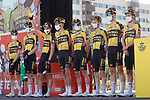 Jumbo-Visma best team from yesterday's stage at sign on before the start of Stage 12 of La Vuelta d'Espana 2021, running 175km from Jaén to Córdoba, Spain. 26th August 2021.     <br /> Picture: Luis Angel Gomez/Photogomezsport   Cyclefile<br /> <br /> All photos usage must carry mandatory copyright credit (© Cyclefile   Luis Angel Gomez/Photogomezsport)