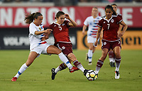Jacksonville, FL - Thursday April 5, 2018: Mallory Pugh, Mónica Flores, Cristina Ferral during an International friendly match versus the women's National teams of the United States (USA) and Mexico (MEX) at EverBank Field.