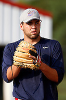 Auburn Doubledays pitcher Nathan Karns #37 throws a bullpen session before a game against the Batavia Muckdogs at Dwyer Stadium on September 3, 2011 in Batavia, New York.  Auburn defeated Batavia 2-1.  (Mike Janes/Four Seam Images)