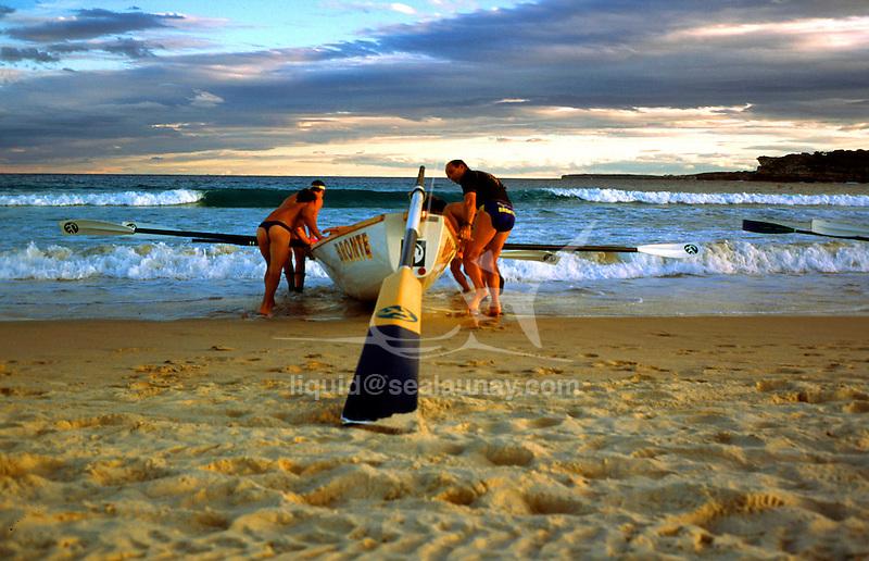 Surf boat training in Bondi Beach.