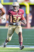 Texas State running back Robert Lowe (28) rushes for some yards during first half of NCAA Football game, Saturday, August 30, 2014 in San Marcos, Tex. Texas State leads Arkansas Pine-Bluff 42-0 at the halftime. (Mo Khursheed/TFV Media via AP Images)