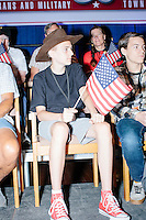 People gather before Texas senator and Republican presidential candidate Ted Cruz speaks at a town hall put on by the Concerned Veterans for American at Milford Town Hall in Milford, New Hampshire. The crowd included Blaise Notter (in brown hat), 14, of Merrimack, NH.