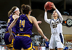 SIOUX FALLS, SD - MARCH 7: Paige Bradford #23 of the UMKC Kangaroos shoots against the Western Illinois Leathernecks during the Summit League Basketball Tournament at the Sanford Pentagon in Sioux Falls, SD. (Photo by Dave Eggen/Inertia)
