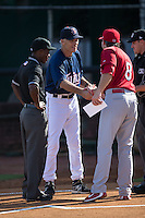 Elizabethton Twins manager Ray Smith (2) shakes hands with Johnson City Cardinals manager Chris Swauger (8) prior to their Appalachian League game at Joe O'Brien Field on July 11, 2015 in Elizabethton, Tennessee.  The Twins defeated the Cardinals 5-1. (Brian Westerholt/Four Seam Images)